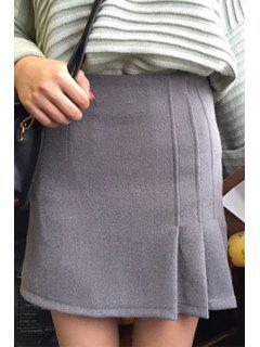 Pleated High Waist A Line Skirt - Gray M
