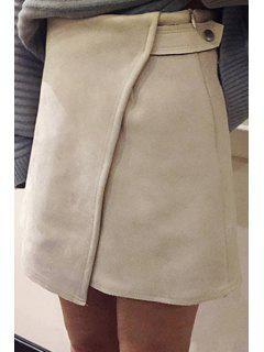 Faux Suede High Waist A-Line Skirt - Apricot M