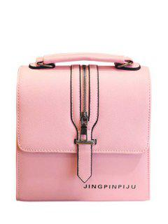 Zipper Letter Print PU Leather Satchel - Pink