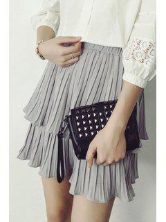 Pleated Solid Color Chiffon Skirt - Gray