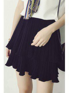 Pleated Solid Color Chiffon Skirt - Black