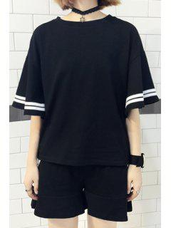 Striped Short Sleeve T-Shirt And Ruffles Spliced Shorts Suit - Black