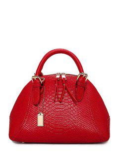 Crocodile Print Buckles Solid Color Tote Bag - Red
