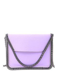 Candy Color Chains PU Leather Crossbody Bag - Light Purple