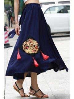 Appliqued Midi Jupe Ethnique - Bleu Violet