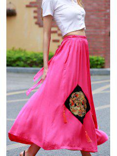 Appliqued Midi Ethnic Skirt - Rose