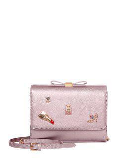 Bowknot Lipstick PU Leather Crossbody Bag - Pink