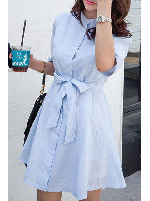 shop Blue Stripe Stand Neck Half Sleeve Dress - LIGHT BLUE L Mobile