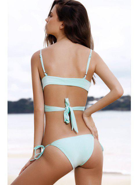 new Wrap Tie Bikini Set - LIGHT GREEN L Mobile