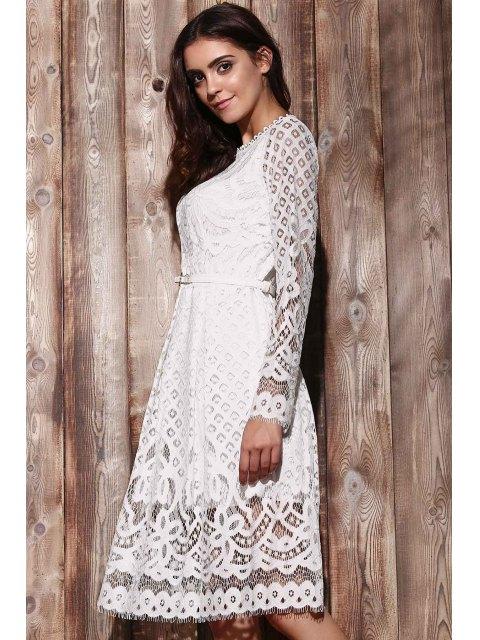 Robe A ligne en dentelle à col rond à manches longues - Blanc 2XL Mobile