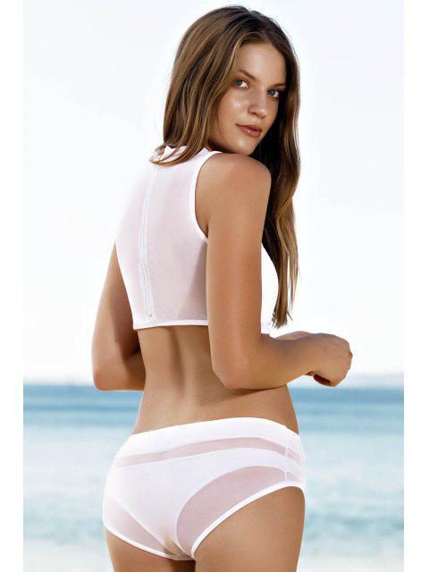 buy Mesh Design High-Waisted Transparent Swimsuit - WHITE M Mobile