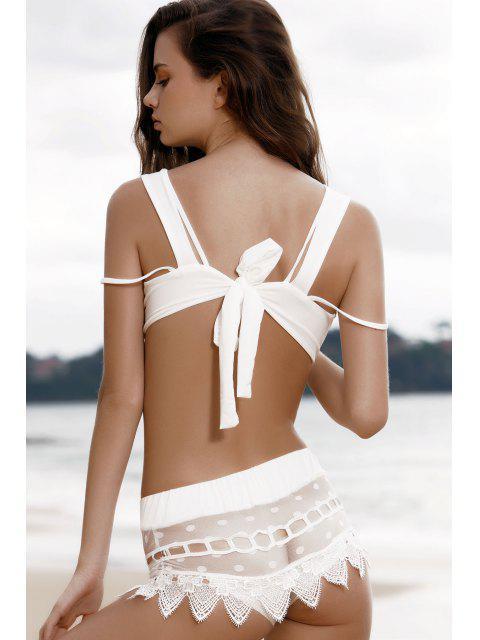 fashion Cami Lace Spliced Bikini Set - WHITE XL Mobile