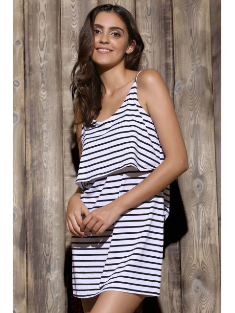 best Striped Cami Dress - WHITE S Mobile