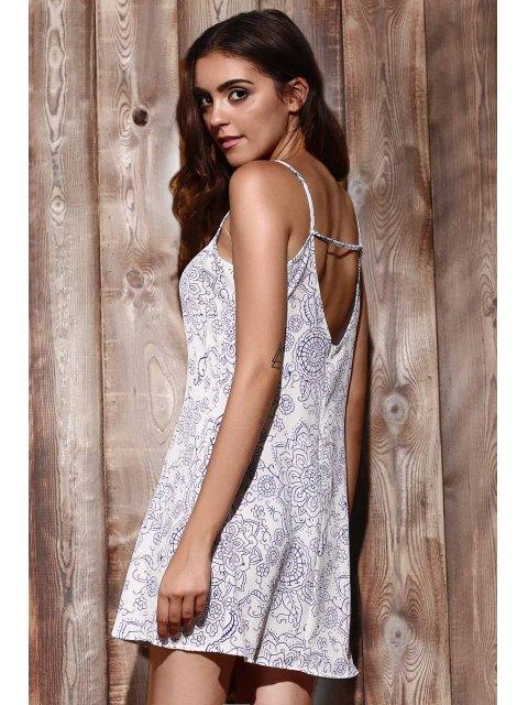lady Ethnic Print Cami Dress - LIGHT BLUE XL Mobile