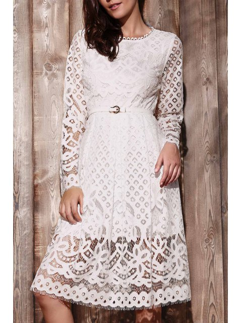 buy Lace Round Neck Long Sleeve A Line Dress - WHITE 2XL Mobile