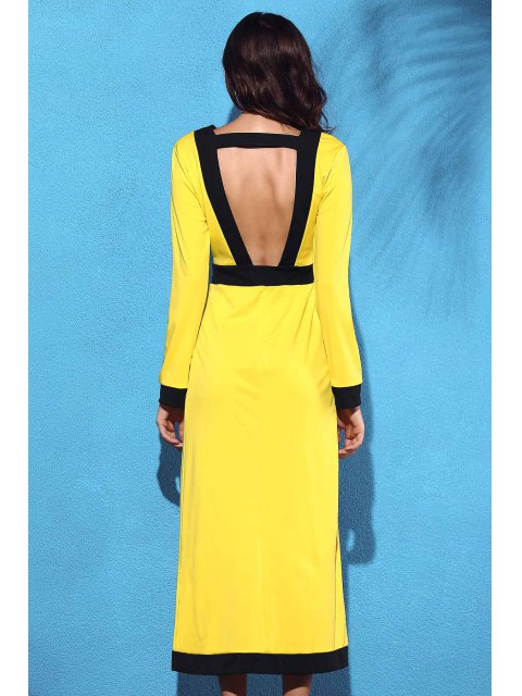 women Front Slit V-Neck Long Sleeve Cut Out Maxi Dress - YELLOW S Mobile