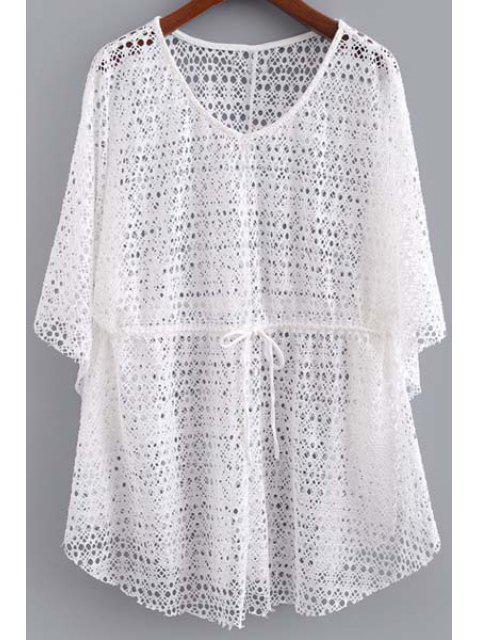 Ahueca hacia fuera con cuello en V manga 3/4 con cordón de la camiseta - Blanco S Mobile