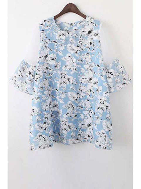 ladies Organza Spliced Sleeve Round Collar Floral Print Dress - LIGHT BLUE M Mobile