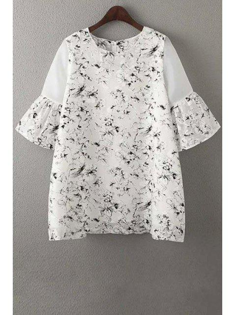 online Organza Spliced Sleeve Round Collar Floral Print Dress - WHITE M Mobile