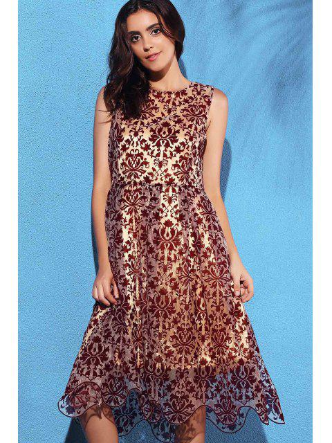 fancy Flower Print Flocking Round Neck Sleeveless Dress - DEEP RED M Mobile