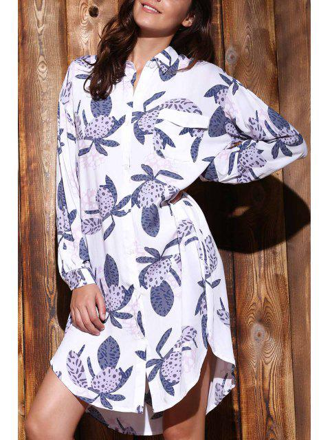 outfits Long Sleeve Printed Shirt Dress - COLORMIX L Mobile