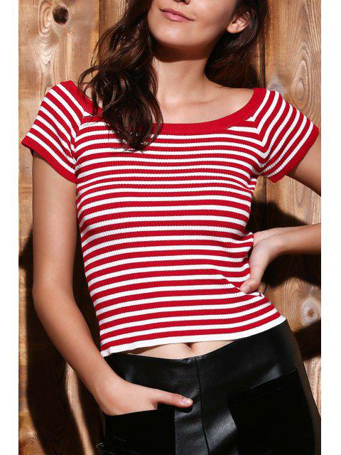 shops Slash Neck Striped Knit T-Shirt - RED S Mobile