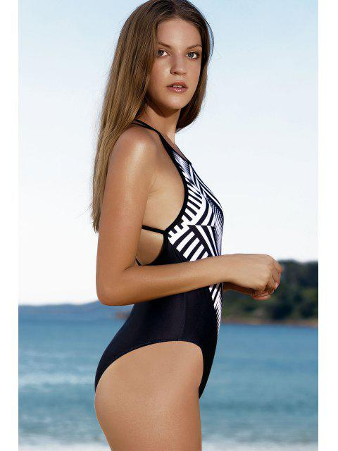 shop Slimming Printed One Piece Swimwear - BLACK L Mobile