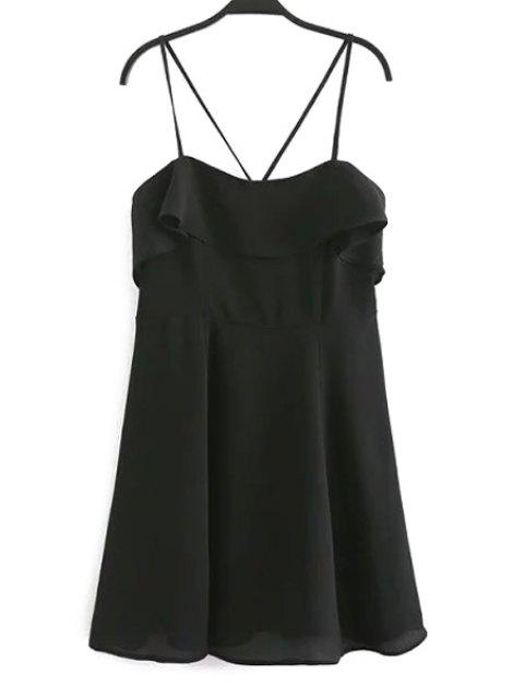 shop Backless Spaghetti Straps Flouncing Dress - BLACK M Mobile