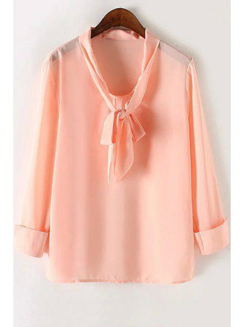 unique Solid Color Bow Tie Collar Long Sleeve Blouse - PINK M Mobile