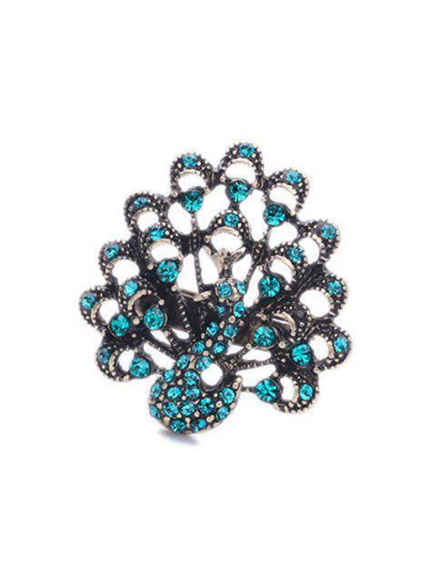 womens Rhinestone Peacock Shape Ring - TIFFANY BLUE  Mobile