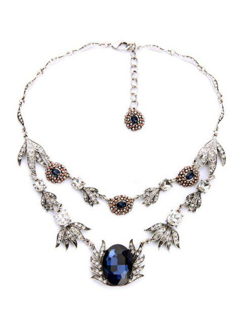 Collier Forme Faux Sapphire Feuille - Argent  Mobile