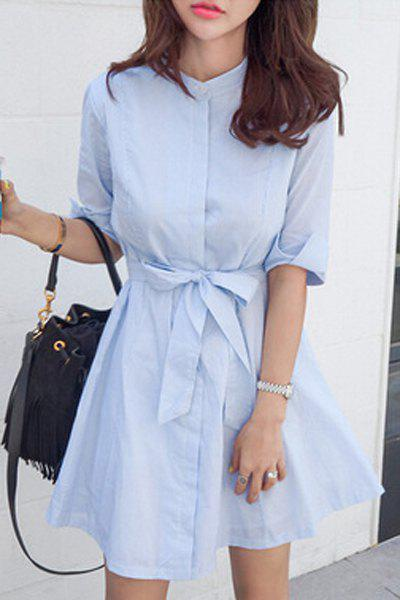 Blue Stripe Stand Neck Half Sleeve Dress - LIGHT BLUE M