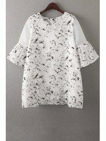 Organza Spliced Sleeve Round Collar Floral Print Dress - White M