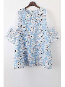 Organza Spliced Sleeve Round Collar Floral Print Dress - Light Blue M