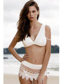 Cami Lace Spliced Bikini Set - White S