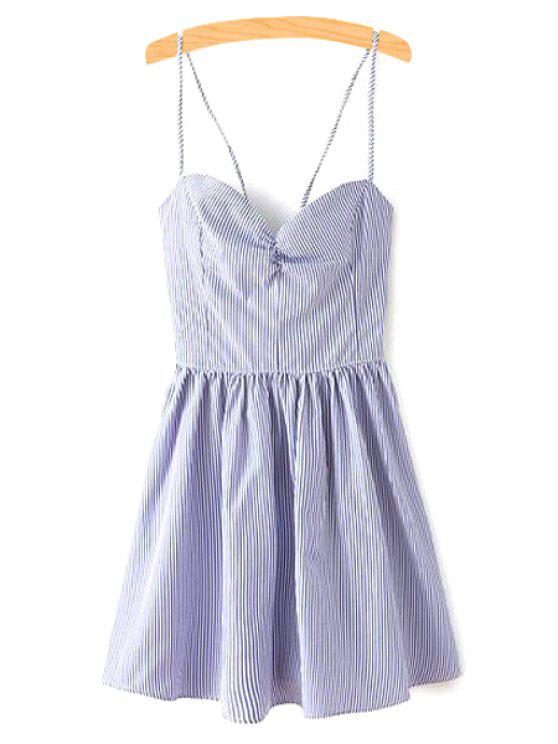 women Fitting Lace-Up Spaghetti Straps Sleeveless Dress - BLUE L