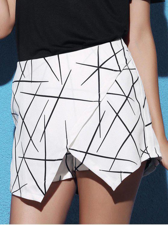 خصر مطاطي غير متناظر للنساء - أبيض XL