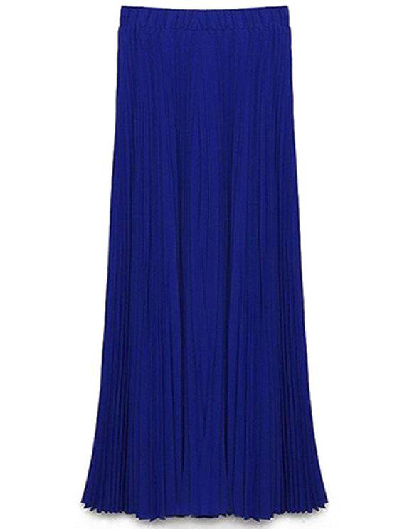 Solide Couleur taille haute A-Line Jupe en mousseline - Bleu S