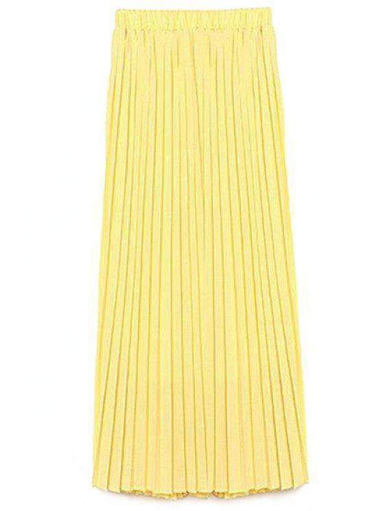 Cor sólida Cintura alta A-Line Chiffon Skirt - Amarelo L
