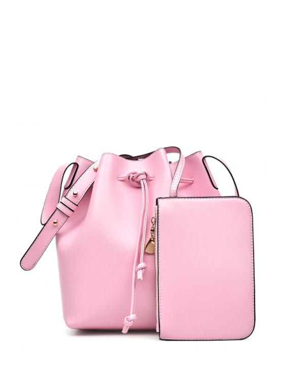 hot Solid Color String PU Leather Crossbody Bag - PINK