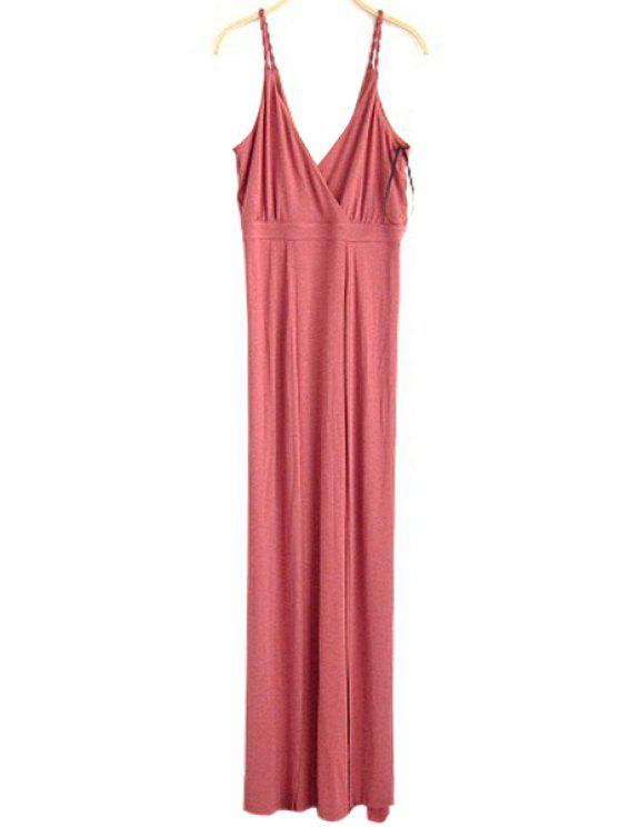 79ae4c159d4 Fitting Solid Color Spaghetti Straps Sleeveless Dress - Watermelon Red L