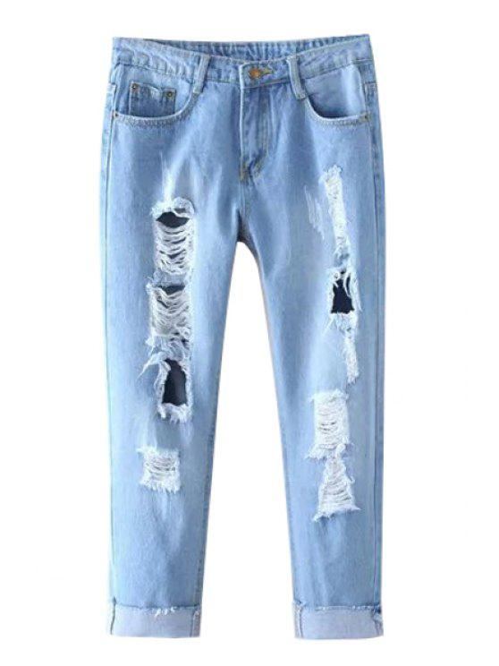 latest Distressed Cropped Jeans - LIGHT BLUE XL