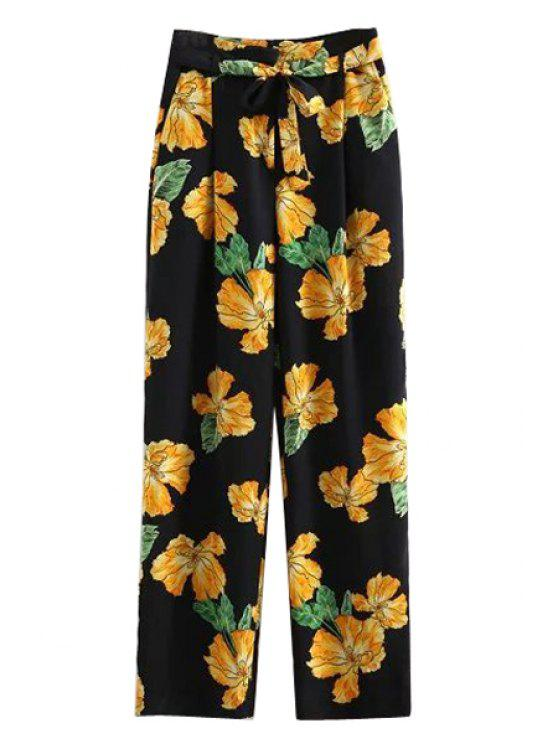 sale Printed Wide Leg Palazzo Pants - BLACK M