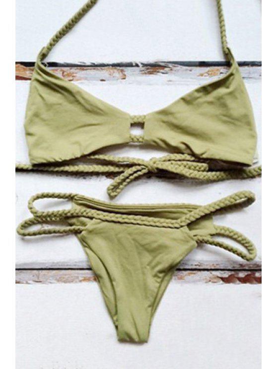 Bikini femme sexy à halter vert avec filet tressé - Vert L