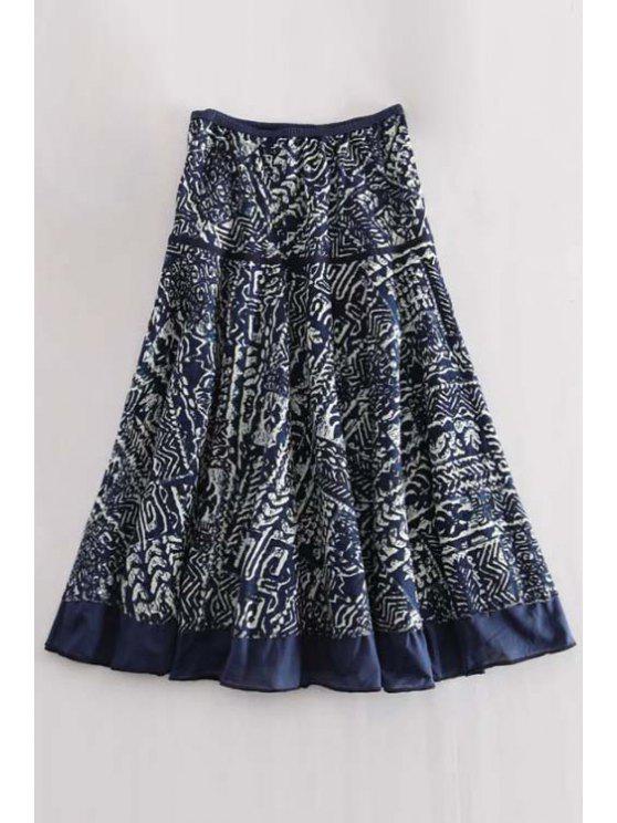 high waisted printed a line midi skirt blue skirts