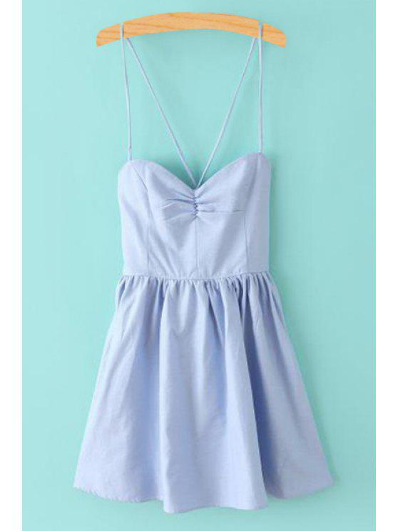 women's Solid Color Lace-Up Spaghetti Straps Sleeveless Dress - LIGHT BLUE XS