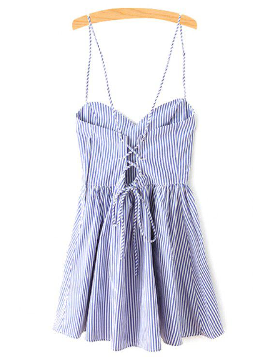 unique Fitting Striped Spaghetti Straps Sleeveless Dress - BLUE M