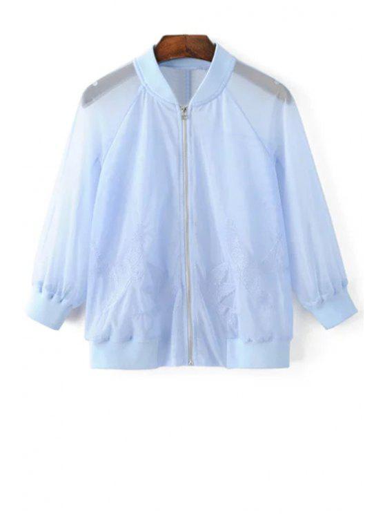 Jaqueta protetora solar bordada de pássaros - Azul claro L