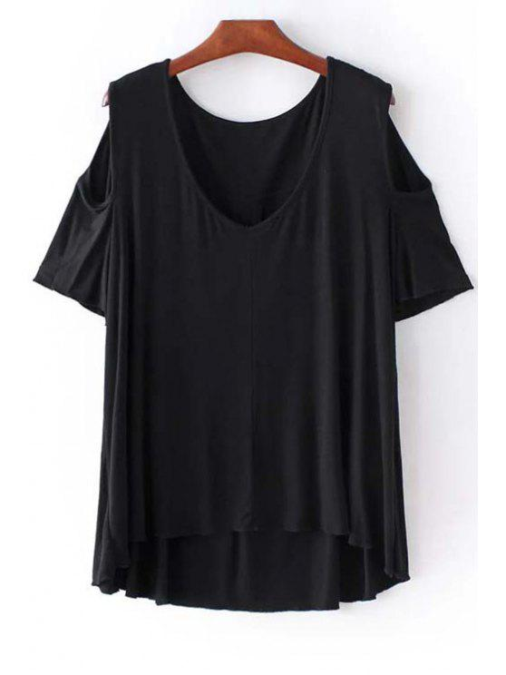 women Cold Shoulder Round Neck Solid Color T-Shirt - BLACK S