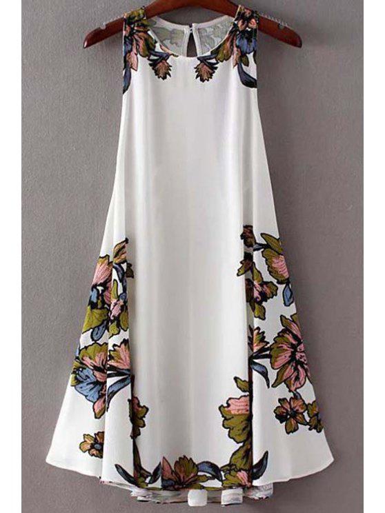 Vestido de Oscilación de Flores con Tiras Cruzadas - Blanco M